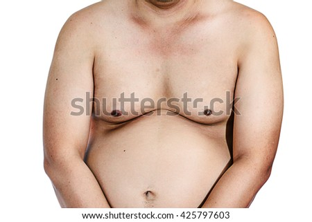 Fat man with a big belly. Diet isolated on white background - stock photo