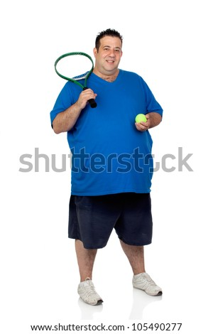 Fat man with a racket for play tennis isolated on white background - stock photo