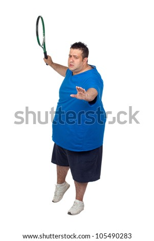 Fat man with a racket playing tennis isolated on white background - stock photo