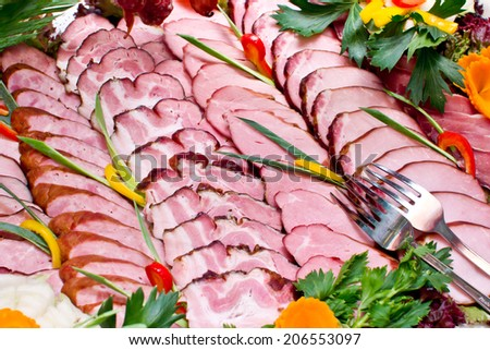 Fat meat slices texture. - stock photo