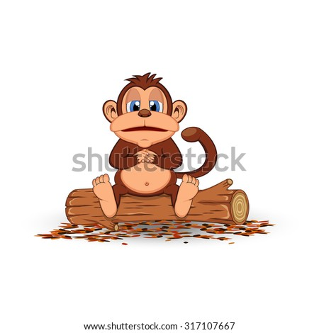 Fat monkey sitting in a wood cartoon - stock photo