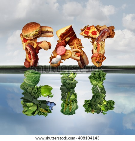 Fat or fit lifestyle concept as a group of unhealthy greasy snack food making a reflection in the water with healthy green fruits and vegetables shaped as the word fit with 3D illustration elements. - stock photo