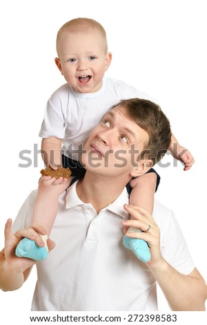 father and a young child on a white background - stock photo