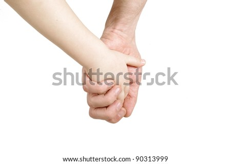 Father and child hands - stock photo