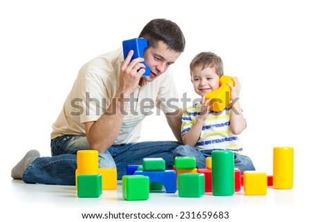 father and child son role playing isolated - stock photo