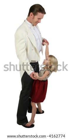 Father and daughter dancing in formals - stock photo