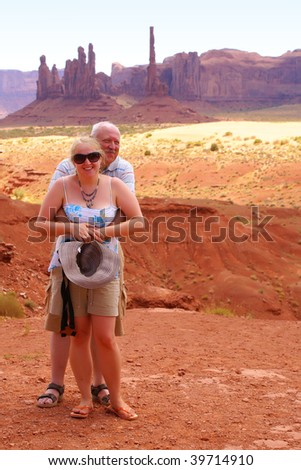 Father and daughter in Monument Valley Tribal Park - stock photo
