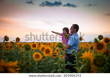 Father and daughter in the sunflowers field look into the distance - stock photo