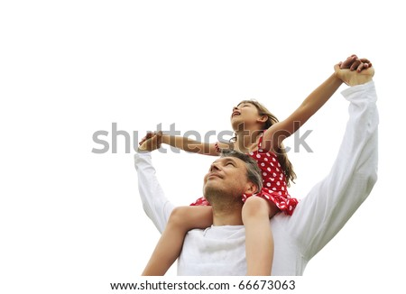 Father and daughter on shoulders isolated on white - stock photo