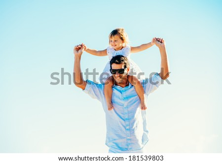 Father and Daughter Playing, Having Fun Together, Quality Time - stock photo