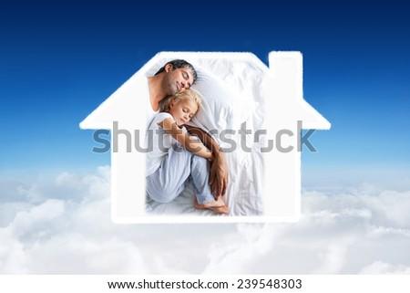 Father and daughter sleeping on bed against blue sky over clouds - stock photo