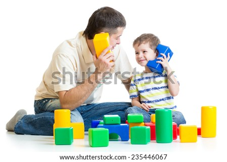 father and kid boy role-playing together isolated - stock photo