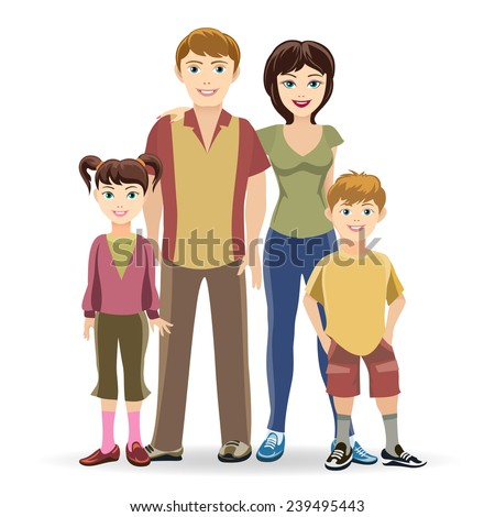Father and mother, son and daughter. Portrait of four member family posing together happy smiling illustration - stock photo