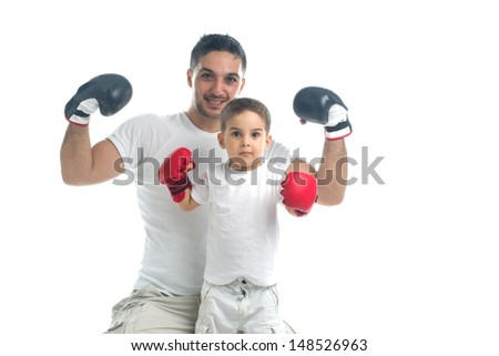 Father and son before boxing game - stock photo