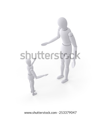 Father and son expressing argument and discipline , isolated on white - stock photo