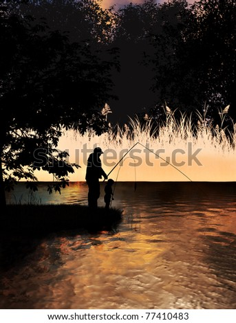 Father and son fishing on lake concept or grandfather and grandson fishing on a lake , 300 D.P.I - stock photo