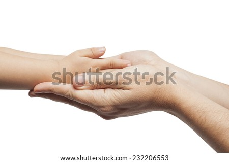 Father and son, holding hands on white background. - stock photo