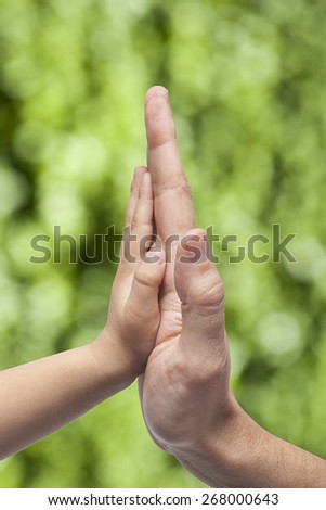 Father and son in high five gesture on blurred natural green background - stock photo
