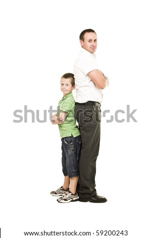 Father and son isolated on white background - stock photo