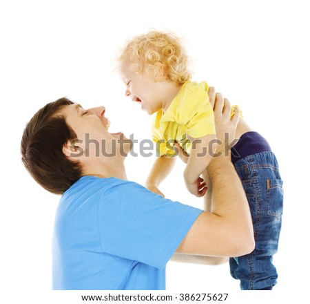 Father and Son Kid, Dad Playing with Child, Happy Parent Raising up Boy on Hands, White - stock photo