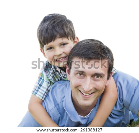 Father and Son Playing Piggyback Isolated on White. - stock photo