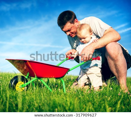 Father and Son Playing Together Happiness Concept - stock photo