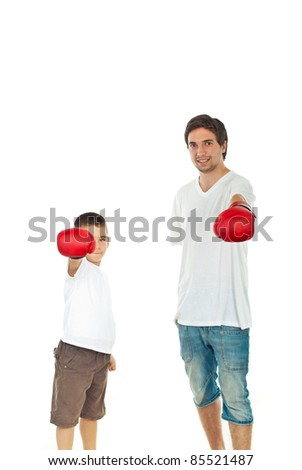 Father and son showing hands in boxing gloves isolated on white background - stock photo