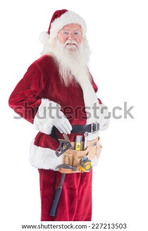 Father Christmas is wearing a tool belt on white background - stock photo