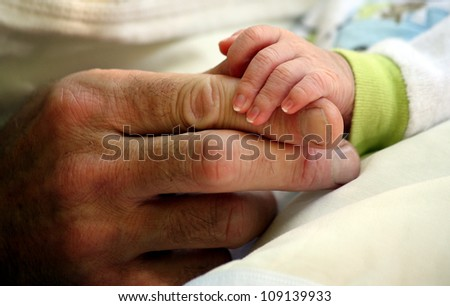 father giving hand to a child closeup - stock photo