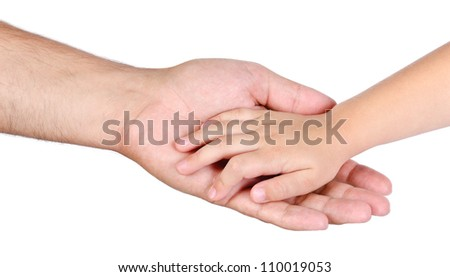 Father giving hand to a child isolated - stock photo