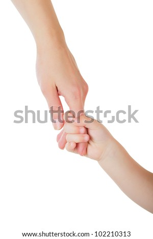 Father giving hand to a child isolated on white background - stock photo