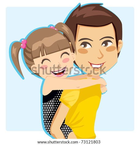 Father giving his little girl piggyback ride smiling - stock photo