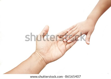 father hand and child hand as white isolate background - stock photo