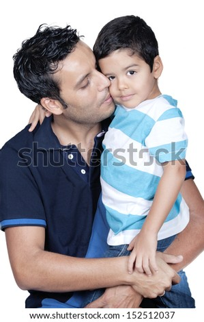Father kissing his son isolated on white  - stock photo