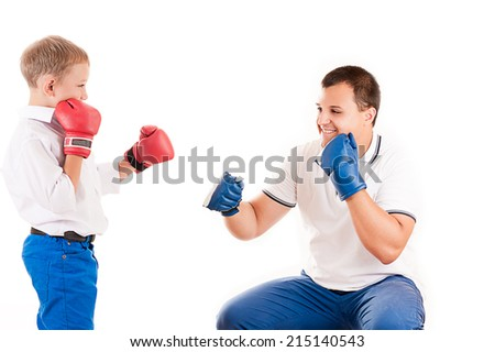 father of boxing with son - stock photo