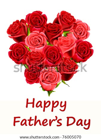 Father's Day card with a heart made of roses - stock photo