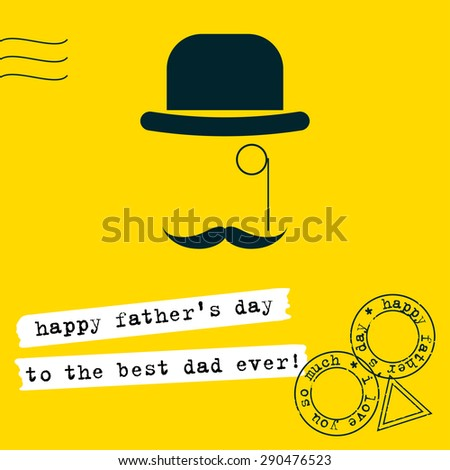 Father's Day greeting card background. Conceptual simple graphic illustration with hat, monocle and moustache in trendy flat style isolated on stylish bright yellow cover. Raster copy - stock photo