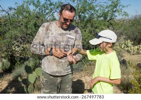 Father shows the child a rare lizard - Gila monster - stock photo