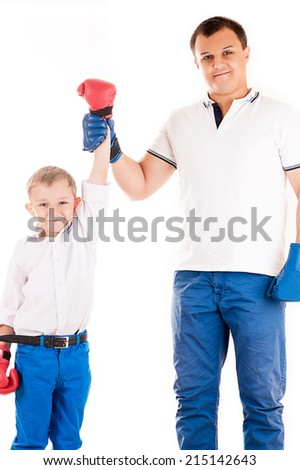 father son announces the winner - stock photo