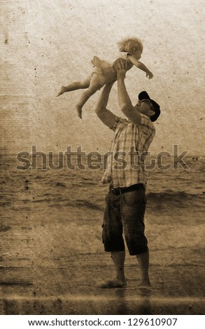 father with daughter on vacation at sea. Photo in old image style. - stock photo