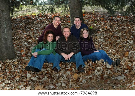 father with grown children - stock photo