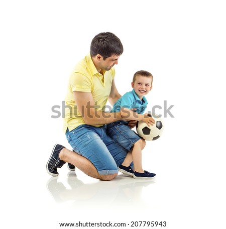 Father with his son isolated on white background - stock photo