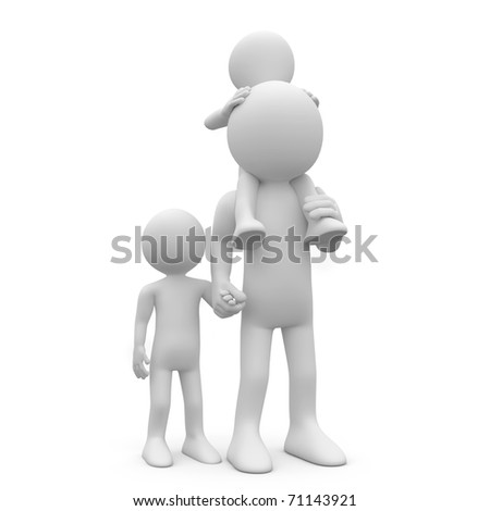 Father with his two sons, one of them on the shoulders - stock photo