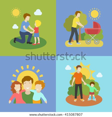 Fatherhood  father playing with children  illustration. - stock photo