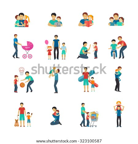 Fatherhood flat icons set with father playing with children isolated  illustration - stock photo