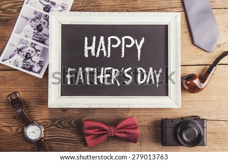 Fathers day composition on wooden desk backround. - stock photo