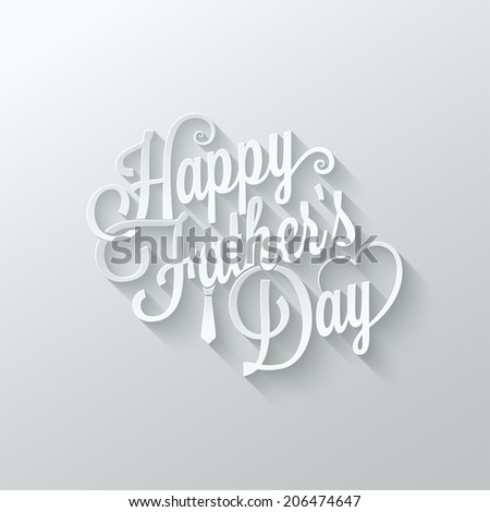 fathers day cut paper lettering background illustration - stock photo