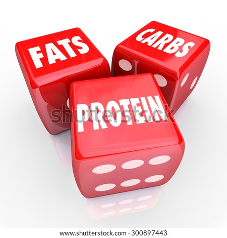 Fats Carbs Proteins 3 red dice to illustrate good balanced eating or nutrition with healthy foods and diet habits - stock photo
