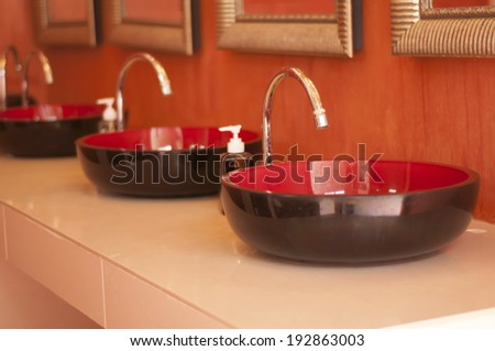 Faucet and lavatory interior design. - stock photo