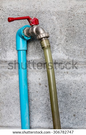 Faucets and water pipes connected . - stock photo